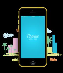 Charlie Ride Free rideshare mobile app mockup