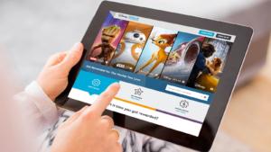 Disney Movie Rewards website mockup on tablet